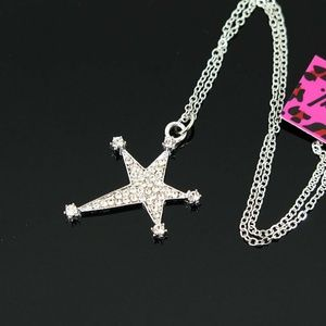 New Silver sparkling Betsey Johnson Star necklace